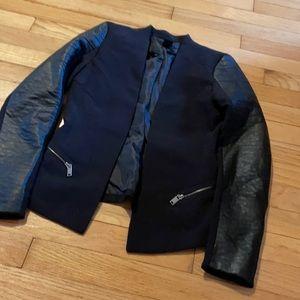 Blazer with Faux Leather Arm Design - size 2